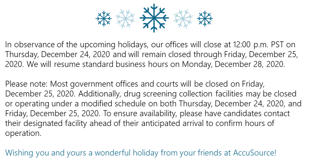 Christmas Hours Message