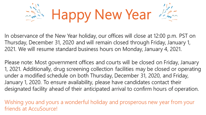 New Year Hours Message